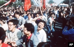 Student pro-democracy demonstrations in Tiananmen Square, 1989.
