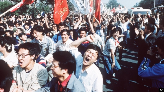 FILE - Student pro-democracy demonstrations in Tiananmen Square, 1989.