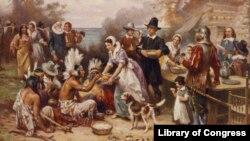 Primer encuentro de Acción de Gracias. [Foto: Cortesía, Biblioteca del Congreso de EE.UU.].