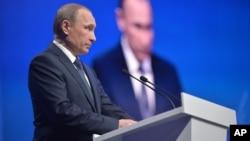 Tổng thống Nga Vladimir Putin phát biểu tại một cuộc họp khu vực của Mặt trận Nhân dân Đoàn kết thân Kremlin ở Stavropol, hôm 25/1.