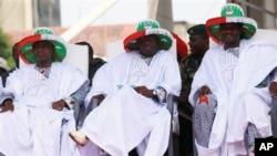 Wani taron jam'iyyar PDP mai mulki a Nijeriya. Akan auna tarurrukan siyasa da bama-bamai a Nijeriya a 'yan kwanakin nan.