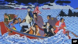 'Shimomura Crossing the Delaware' is a knock-off of the iconic 19th century painting, 'Washington Crossing the Delaware.'