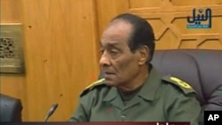 Egypt's Defense Minister Field Marshal Mohamed Hussein Tantawi attends a meeting of the military supreme council, February 10, 2011