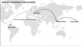 Edward Snowden's suspected trail.