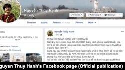 Bà Nguyễn Thúy Hạnh phản đối Vietcombank phong tỏa tài khoản, 17/1/2020