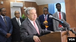 "U.N. Secretary-General Antonio Guterres made a surprise visit to Somalia to push for ""massive support"" in light of the drought facing the country, March 7, 2017. (Photo: Abdulkadir Mohamed Abdulle)"