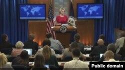 La porte-parole de la diplomatie Heather Nauert lors d'une conférence de presse à Washington, le 22 juin 2017.