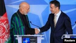 Afg'oniston prezidenti Hamid Karzay, NATO Bosh kotibi Anders Fog Rasmussen. Bryussel, 23-aprel, 2013-yil.