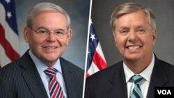سناتور گراهام (راست) و منندز، از صادرکنندگان این بیانیه هستند
