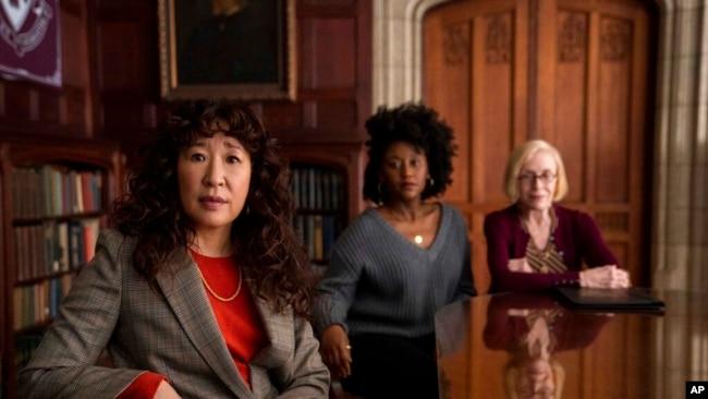 Sandra Oh, Nana Mensah and Holland Taylor work together as English professors in 'The Chair.' (Eliza Morse/Netflix via AP)