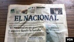 Última edición del diario venezolano El Nacional de diciembre de 2018, en Caracas. Imagen del 15 de mayo de 2021. [Foto: VOA/Álvaro Algarra]