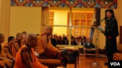 Prime Minister Lobsang Sangay addressing the hundreds gathered at Tsuklagkhang monastery in Dharamsala
