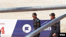 2014年參加莫斯科坦郊外克比賽中的哈薩克軍人。
