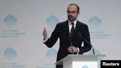 Perdana Menteri Perancis Edouard Philippe pada Konferensi Dunia di Dubai, Uni Emirat Arab, 11 Februari 2018.
