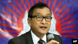 Cambodian opposition leader Sam Rainsy, Sept. 10, 2012 file photo.
