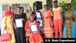 U.S. Ambassador to Rwanda Erica Barks-Ruggles honored three Rwandan women at her residence to celebrate Women's History Month.
