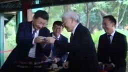 Ông Nguyễn Phú Trọng và nguyên thủ Trung Quốc trong buổi tiệc trà hôm 13/11.