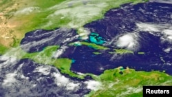 Tropical Storm Joaquin is seen approaching the Bahamas in this NOAA Goes-East satellite image taken Sept. 29, 2015.
