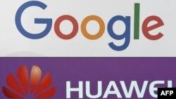 Logo công ty Google của Mỹ và logo công ty Huawei của Trung Quốc.