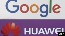 Foto kombinasi logo Google dan Huawei, 19 Mei 2019.