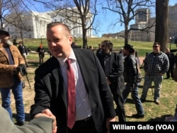 "Virginia gubernatorial candidate Corey Stewart is using President Donald Trump as a model for his race to win the Republican Party nomination for governor of Virginia. He often hangs around long after events, like the ""End Sanctuary Cities Rally"" in Richmond Virginia in March, to talk to potential voters."