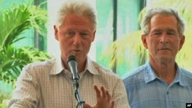 Cựu tổng thống Bill Clinton và cựu tổng thống George W Bush nói về việc trợ giúp cho Haiti sau trận động đất file)