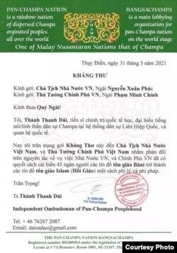 Kháng thư gửi đến chính quyền Việt Nam.
