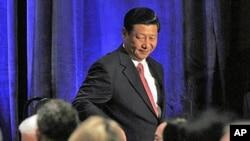 2月15号,习近平在华盛顿向美中贸易全国委员会发表讲话后走下讲台