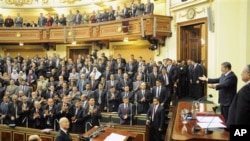 Egyptian President Mohammed Morsi addresses the newly convened upper house of parliament, in Cairo, Egypt, December 29, 2012.