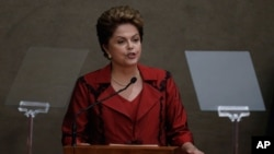 "FILE - President Dilma Rousseff sought to divert criticism regarding the Petrobras scandal, saying that ""corruption in Brazil was not invented recently."""