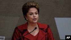 FILE - Brazil's President Dilma Rousseff speaks in Brasilia, Dec. 18, 2014.