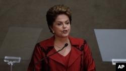 Brazil's President Dilma Rousseff speaks in Brasilia, Dec. 18, 2014.