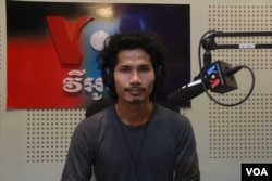 Thul Rithy, co-founder of Cambodia-branded laptop, Koompi, during VOA Khmer's Hello VOA Science and Tech radio call-in show in Phom Penh, August 30, 2018. (Lim Sothy/VOA Khmer)