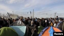 在希腊与马其顿接壤处的一个临时难民营里,一名移民在整理她的帐篷。(2016年3月5日)