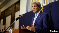 U.S. Secretary of State John Kerry speaks at a news conference in Sharm el-Sheikh, March 14, 2015.