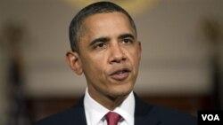 Presiden AS Barack Obama menyampaikan pidatonya mengenai situasi di Mesir, Selasa malam (2/1).