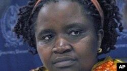 Justine Masika Bihamba tana fafutuka kan irin fyade da aka yi mata a kasar kwango.