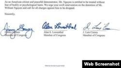 Lá thư gửi Tổng thống Trump của các dân biểu Mỹ.