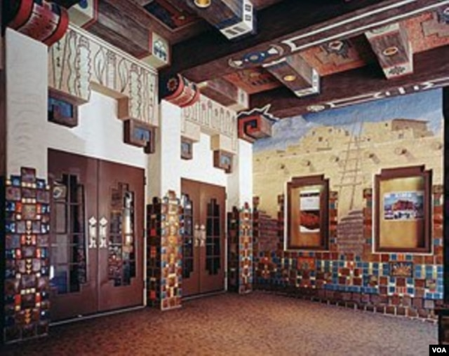 The KiMo Theatre's outside lobby gives a hint of the American Indian touches to be found inside. (Carol M. Highsmith)