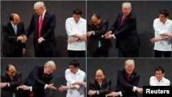 Tổng thống Mỹ Donald Trump cùng Thủ tướng Việt Nam Nguyễn Xuân Phúc và Tổng thống Philippines Rodrigo Duterte.
