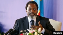 FILE - Democratic Republic of Congo President Joseph Kabila speaks at a news conference at the State House in Kinshasa, Democratic Republic of Congo, Jan. 26, 2018.
