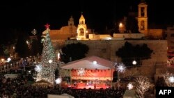 A view of Manger Square and the Church of the Nativity in Bethlehem.