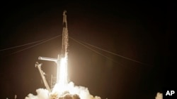 A SpaceX Falcon 9 lifts off with four private citizens at the Kennedy Space Center in Cape Canaveral, Fla., Sept. 15, 2021.