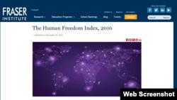 加拿大弗雷泽研究所星期二发表最新的人类自由指数报告 (网页截屏)