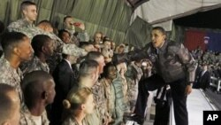 President Barack Obama visit US troops in Afghanistan earlier this year