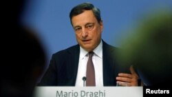 FILE - European Central Bank (ECB) President Mario Draghi attends a news conference at the ECB headquarters in Frankfurt, Germany, Sept. 8, 2016.