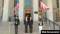 Bộ trưởng Quốc phòng Mỹ Jim Mattis tiếp đại sứ Việt Nam Phạm Quang Vinh ngày 25/5/2018 tại Lầu Năm Góc. Ảnh VTV.