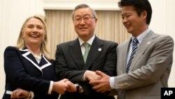 12일 아세안지역안보포럼에서 별도의 회담을 가진 미·한·일 외교장관.