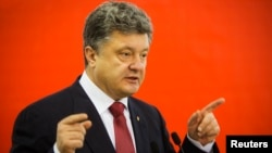 Tổng thống Ukraine Petro Poroshenko phát biểu tại Kiev.
