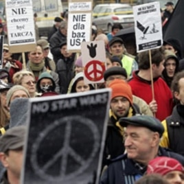 A 2008 file photo of People demonstrating against plans to deploy a missile shield defense system in the town of Redzikowo, northern Poland